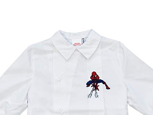 Siggi & marvel grembiule blu bambino asilo spiderman 2/6 anni azzurro/bianco - art. 3104 (6 anni | 116 cm, bianco)