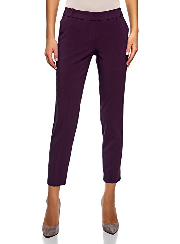 oodji Collection Donna Pantaloni Basic con Pieghe Viola (8801N)