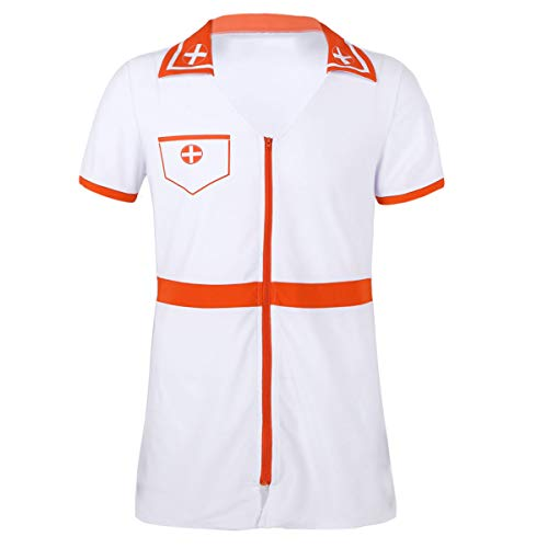 iiniim Herren Krankenschwester Kostüm Arztkittel Uniform Sissy Nachtkleid Nachthemd Cosplay Party Clubwear M-XXL Weiß XXL