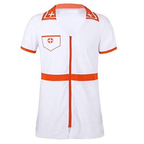 enschwester Kostüm Kleid Pflege Nurse Uniform Cosplay Outfit Dessous Party Karneval Fasching Party Verkleidung Gr. M-XXL Weiß X-Large ()