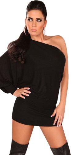 In Style Damen Strickkleid & Pullover asymmetrisch mit einarmigem Fledermausärmel Einheitsgröße (34-40) Schwarz