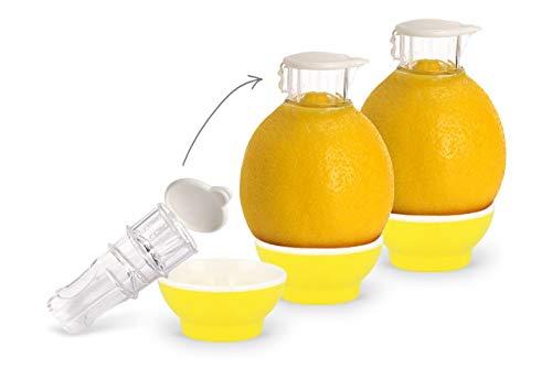 Patent-Safti 3 x Gelb Entsafter I Der Originale Safti Ausgießer für Zitronen, Orangen etc. I Einfacher als Jede Zitronenpresse oder Saftpresse I BPA frei,3 x Gelb
