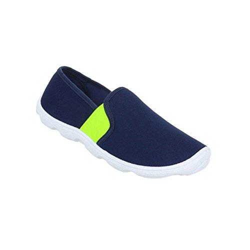 Damen Schuhe Halbschuhe Slipper Blau