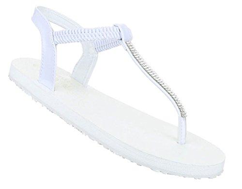 Damen Sandalen Schuhe Sommerschuhe Strandschuhe Zehentrenner Schwarz Beige Weiß 36 37 38 39 40 41 Weiß