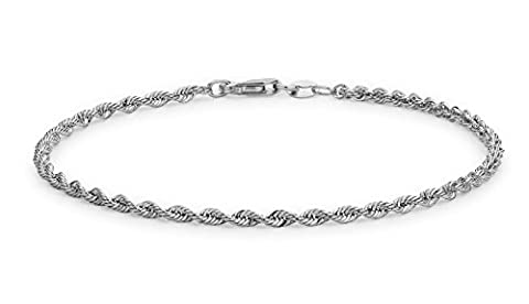 Carissima Gold 9 ct White Gold Semi Hollow Diamond Cut Rope Bracelet of 18 cm/7 inch