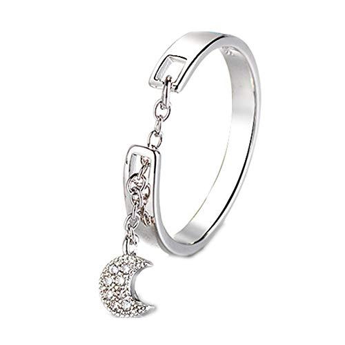 Anillo de plata de ley 925 con circonita cúbica y luna y cadena, ajustable, para mujer
