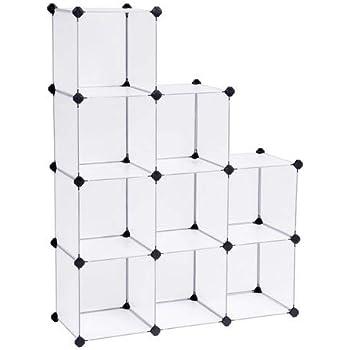 SONGMICS Armadietto Modulare, Guardaroba a 9 Cubi, Armadio Scaffale a Scompartimenti, 93 x 31 x 123 cm, Bianco LPC115S