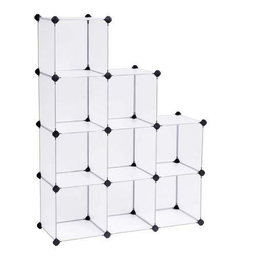 SONGMICS Regalsystem Cube Aufbewahrung Badregale Schuhregal Sideboard Kommode Kleiderschrank Aufbewahrungsbox Weiß 93 x 31 x 123 cm LPC115S - Cube Kleiderschrank