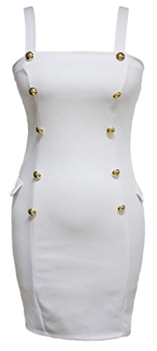 EOZY Femme Robe Mini Moulante Débardeur Robe Uni Bandage Party Club Blanc