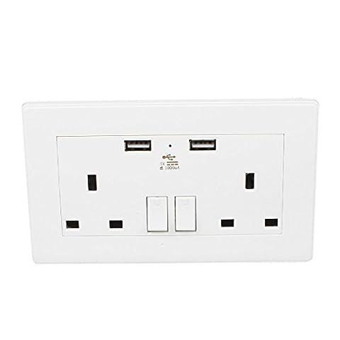 sourcingmap® Double 110V-250V CA UK Socket 2Port USB de charge Interrupteur d'alimentation secteur DC 5V 1000mA Sortie murale