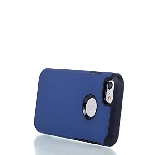 Cover iPhone 7,Custodia iPhone 7,ikasus® [Heavy Duty Serie] Hybrid Outdoor Dual Layer Armor Custodia custody sleeve Case Cover per iPhone 7 Custodia Cover [Shock-Absorption] Ultra Sottile Silicone Har Blu