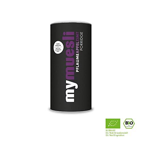 mymuesli Porridge - Bio Haferbrei - 400g - 10 Portionen - Hergestellt in Deutschland aus 100% Bio-Zutaten (Pflaume-Apfel-Zimt-4x) - Apfel-pflaume