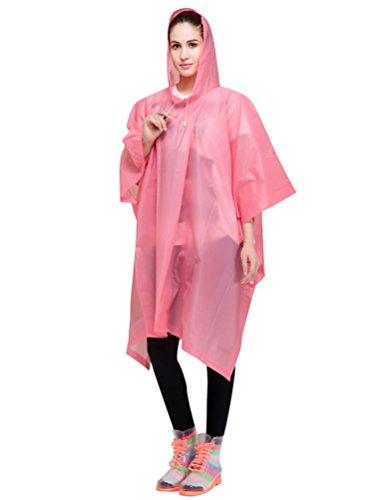 LvRao Damen Regencape Fahrrad mit Kapuze Lang Regenmantel Outdoor Regenbekleidung Wasserdichte Rosa