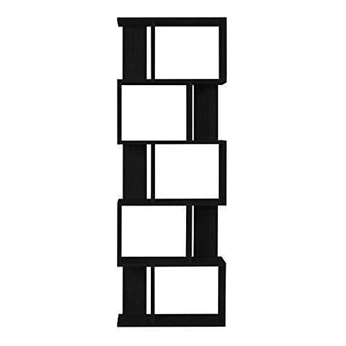 Mobili rebecca® scaffale libreria 5 ripiani legno nero design contemporaneo sala ufficio arredo casa (cod. re4786)