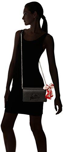 Love Moschino Damen kleine Umhängetaschen Ledertasche Schwarz schwarz (Black Logo)