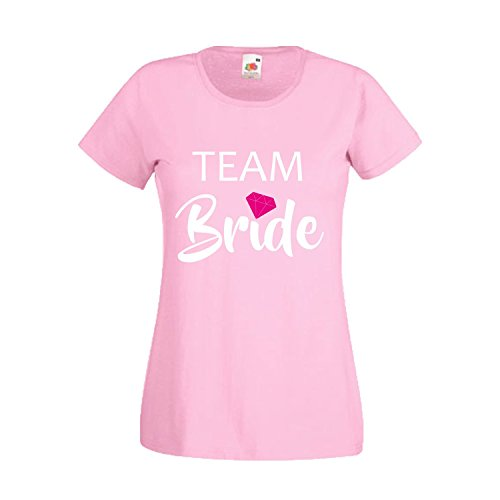 Damen T-Shirt JGA Junggesellinnenabschied Braut Team Gruppen Rundhals Shirt mit Spruch Ladyfit Bride & Team Bride Diamant Light Pink Team Bride XS