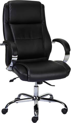 Staples Bürostuhl Surfline, höhenverstellbar, lederbezogene Lehne, schwarz, mit Armlehnen, Nicht höhenverstellbar, Chrom, alusilber, Leder, schwarz -