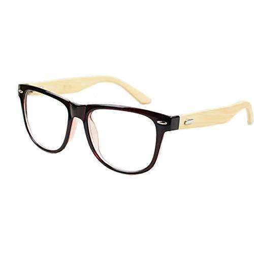 GSSTYJ Optische Vintage-Brille mit klaren Gläsern für Männer und Frauen - Unisex-Brille mit hölzernen Bambusrahmen (Farbe : Dunkelbraun)