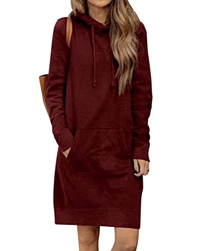 Kidsform Damen Herbst Hoodies Lang Kapuzenpullover Damen Long Sweatshirt Oversize Pulloverkleid Damen Winter Rot XL