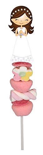 Disok - set di 20spiedini / caramelle golose, perfetti come bomboniera di prima comunione per una bambina, confezione unitaria da 55 g