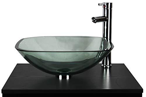Badezimmer Garderobe zinntheken klar Glas Schüssel eckig Waschbecken -