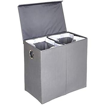 SONGMICS W/äschekorb 142 L W/äschesack herausnehmbar W/äschesortierer grau LCB02G W/äschesammler aus Leinenimitat faltbar W/äschetruhe mit getrennten F/ächern magnetischem Deckel und Griffen