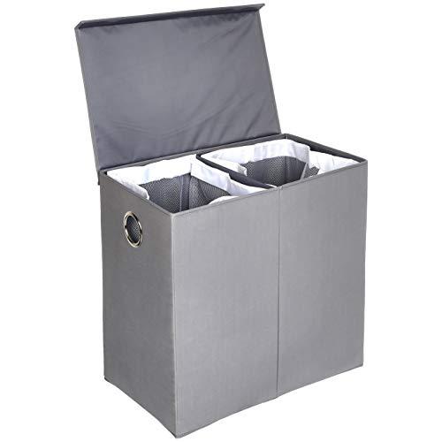 Amazonbasics - cesto portabiancheria pieghevole con coperchio magnetico, grigio