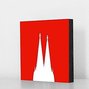 Köln Bild - Domspitzen weiss auf rot 14x14cm, MDF, Geschenk, Deko, Dom, Kölngeschenk, Cologne, Holz, Kunst