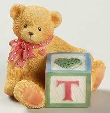 Cherished Teddies Bear With T Block 158488T by Enesco -