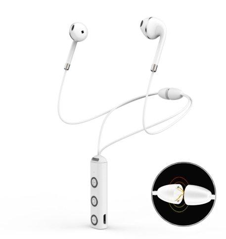 Dreamantech - cuffie senza fili cuffie bluetooth cuffie magnetiche classic auricolari cuffie stereo kit vivavoce con microfono collana con chiusura magnetica - bianco
