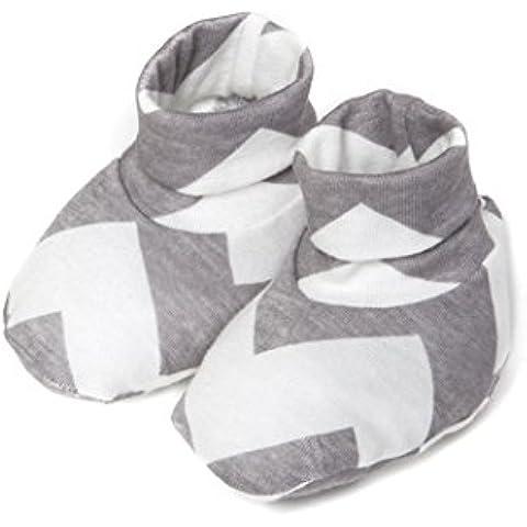 Patucos para Bebé Recién Nacido Estampado Blanco y Gris - Colección Chevron - Minutus