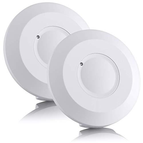 SEBSON® Bewegungsmelder Innen, Aufputz, HF Sensor LED geeignet, Decken Montage programmierbar, Bewegungssensor Reichweite 2-16m/ 360°, 2er Pack