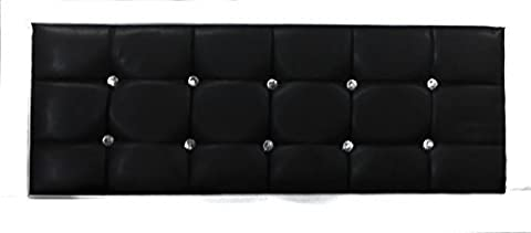 Faux Leather Black Crystal Diamante Double Bed 4ft6 Standard Size Headboard Only by Black