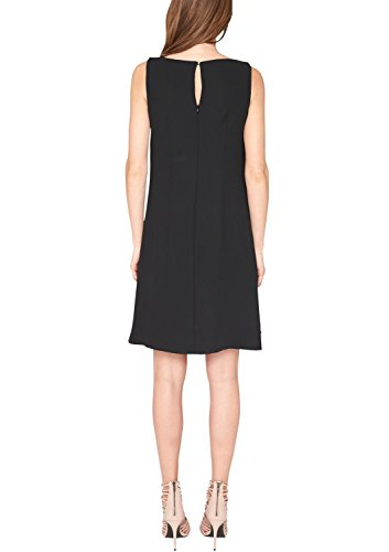 s.Oliver BLACK LABEL Damen Kleid in Crêpequalität, Knielang, Einfarbig Schwarz (ebony 9999)