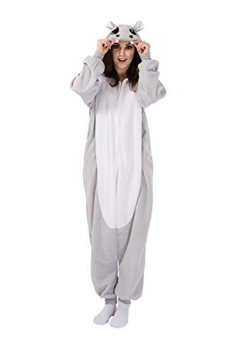 Grau Nilpferd Schlafanzug Kostüm Erwachsene Anime Unisex Kigurumi Pyjamas Kostüme Karneval Cosplay Jumpsuit (Kostüme Nilpferd Erwachsene)