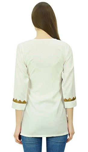 Phagun Tunique courte en dentelle de femmes élégantes manches 3/4 Top Rayon Chemisier Casual Blanc