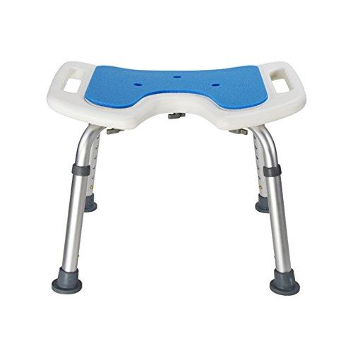 WENTAO Duschhocker / 7 Gang/Höhenverstellung 35,5-50,5 cm/Aluminium und PE-Blasformen/Für Behinderte/Senioren / Schwangere Maximale Statische Belastung 136 Kg
