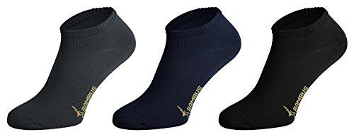 Tobeni 6 Paar Sneaker Socken Bambussocken Füsslinge für Damen und Herren Farbe 2x Anthrazit 2x Marine 2x Schwarz Grösse 35-38