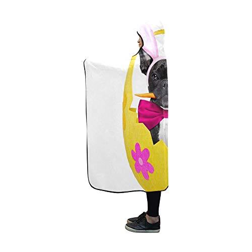 JOCHUAN Mit Kapuze Decke französische Bulldogge Hund Karotte Mund Ostern Decke 60 x 50 Zoll Comfotable Hooded Throw (Karotte Kostüm Hunde)
