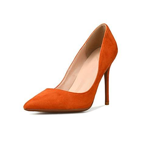 Fenghz-Shoes Schuhe Mode Lady High Stiletto Heels D'orsay Pumps für Damen Kunstleder Wildleder Spitze Zehen gefütterte Schuhe: Spitz, Klassische Slip-On-Pumps (Color : Orange 8 cm Heel, Size : 36 EU) Dorsay Pump Schuhe