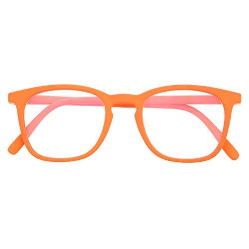 Blaulichtfilter Brille für Damen und Herren. Blaufilter Brille mit stärke oder ohne sehstärke für Gaming oder Pc. Gummi-Touch-Tempel und Blendschutzgläser. Carrot +3.0 - TATE