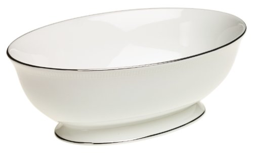 Lenox Tribeca Tafelservice aus feinem Porzellan, platiniert, 5-teilig Lenox, Tribeca, feines Service Open Vegetable Bowl Ivory and platinum Lenox China Open Vegetable Bowl