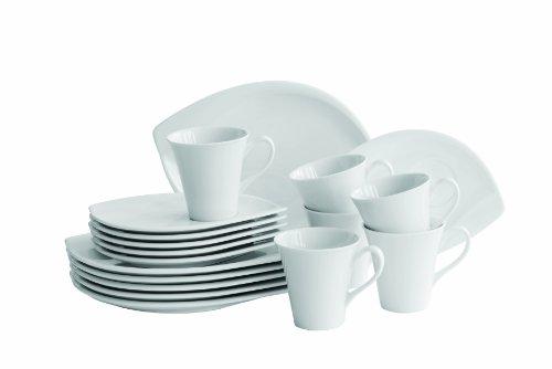 Mäser, Serie Leaf, Kaffeeservice 18-teilig, Porzellan Geschirr-Set für 6 Personen