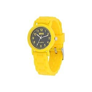 Qbos Kinderuhr Armbanduhr schwarz gelb mit Silikonarmband