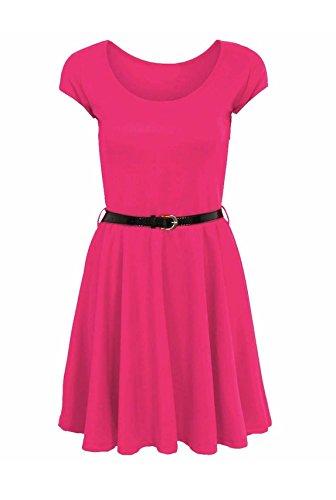 Fashion 4 Less Damen Skater Kleid Rosa fuchsia 48 -