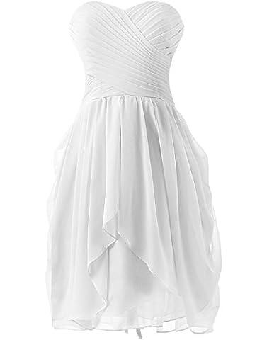 HUINI Strapless Brautjungfer Kleider kurz Chiffon Abendkleid mit Falte besetzt Ballkleid White Size 36