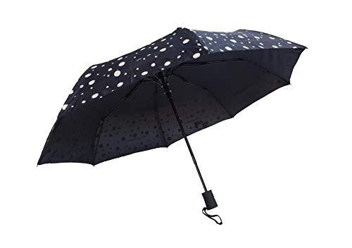 Paraguas Plegables Infantil Apertura automática, Cambia Color con Agua (Negro círculos)