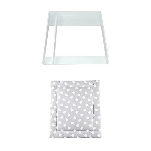 """Wickelaufsatz\""""Rund\"""" mit Trennfach in weiß für IKEA Malm Kommode + Wickelauflage\""""Sterne grau/Pünktchen\"""""""