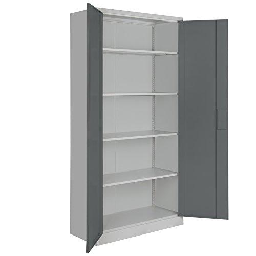 Spind Büroschrank Aktenschrank 180 x 90 x 39 cm Metallschrank Universalschrank mit 3 Einlegeböden, Höhe frei montierbar Ordnerschrank, Farbe:Grau-Dunkelgrau - 5