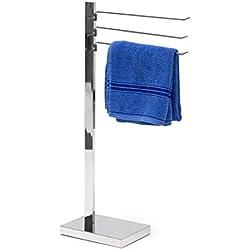 Relaxdays 10020132 Porte-serviettes barre serviettes sur pied acier chromé HxlxP 78 x 18 x 25 cm 3 bras Argenté